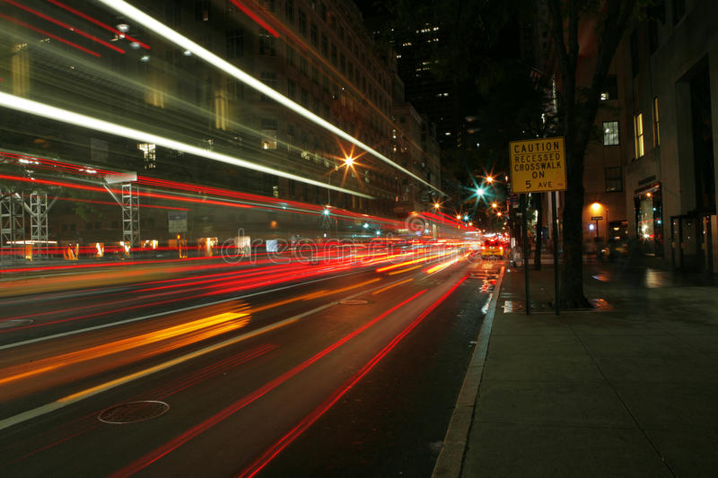 Night capture of the 5th Avenue royalty free stock photos