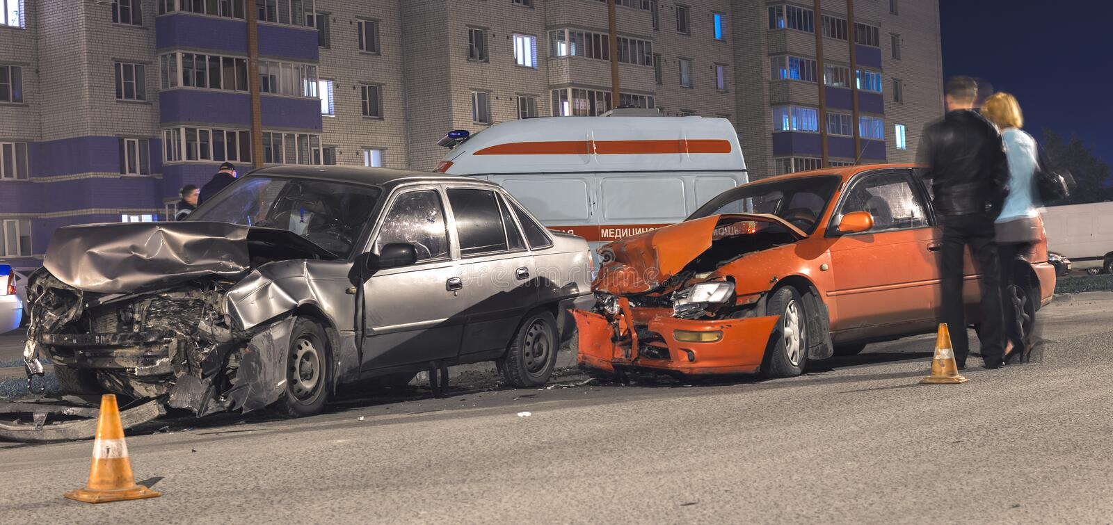 Night car accident stock photography