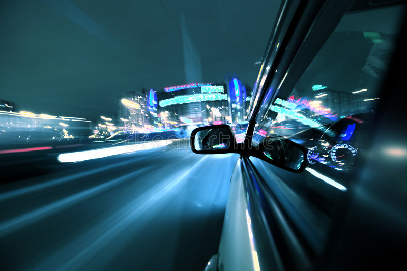 Night car drive. Car fast drive on highway in night stock photo