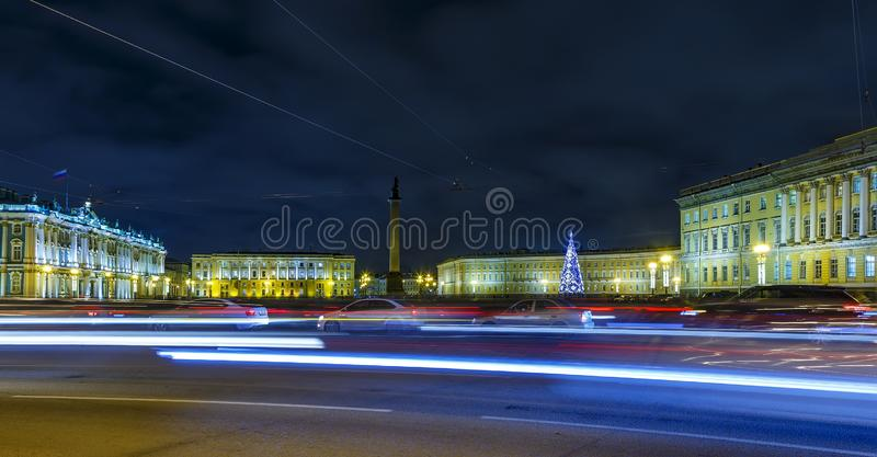 Night car traffic on Hermitage Palace Square, Saint Petersburg, Russia. Night car traffic on Hermitage Palace Square. Winter Saint Petersburg, Russia. New Year royalty free stock photos