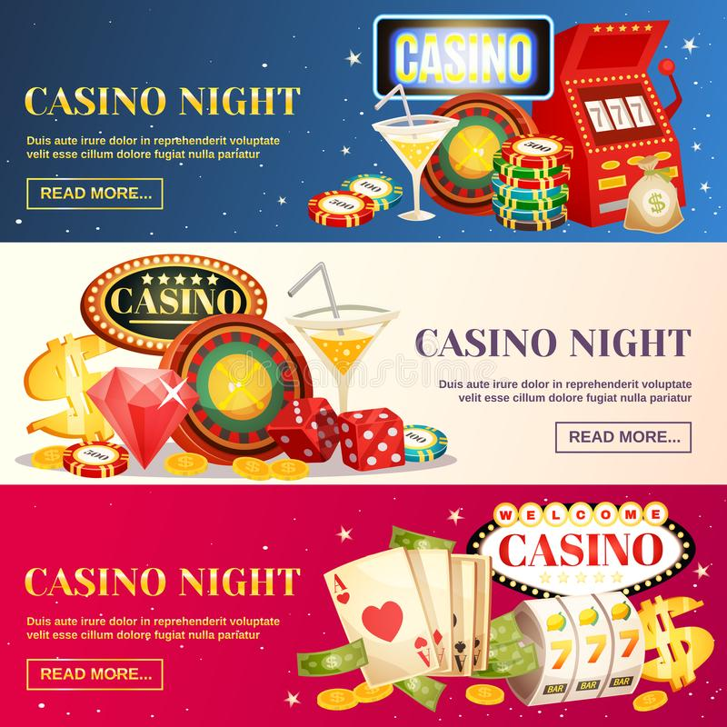 Night Casino Three Horizontal Banners. With roulette cards chips jackpot dice cocktail elements flat cartoon vector illustration royalty free illustration