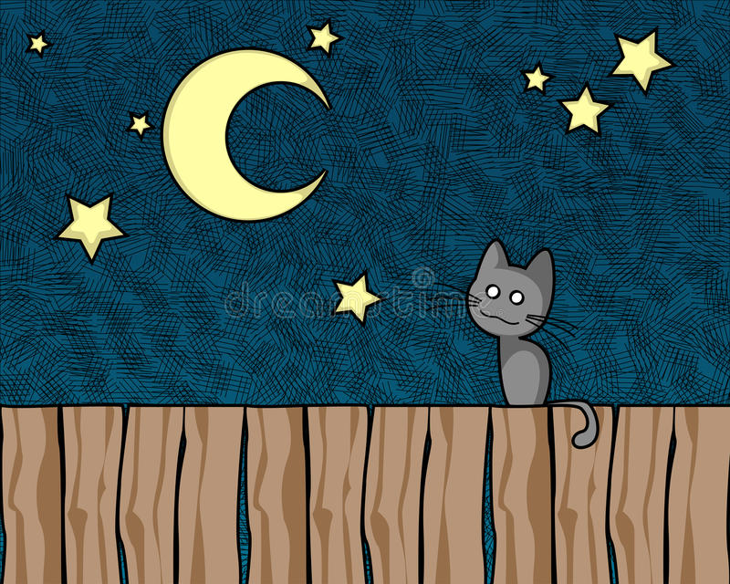Download Night cat stock vector. Image of sitting, pets, sweet - 13502721