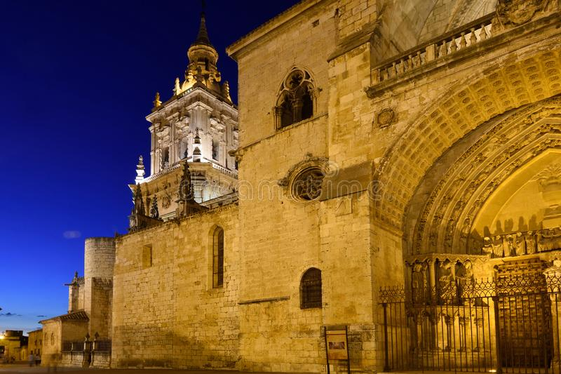 Night at Cathedral of El Burgo de Osma, Soria province, Castilla-Leon, Spain royalty free stock photo
