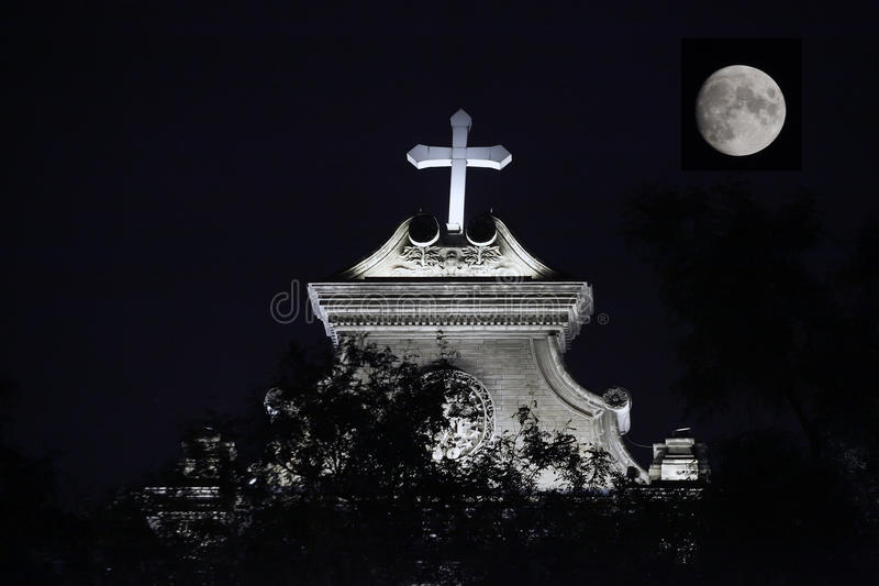 Night Catholic Church. Catholic Church by night in Beijing royalty free stock images