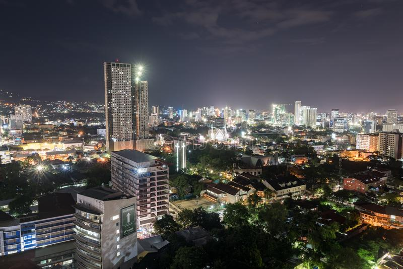 CEBU, PHILIPPINES - FEBRUARY 06, 2018: Night Cebu Cityscape with Buildings Lights in Background. stock images