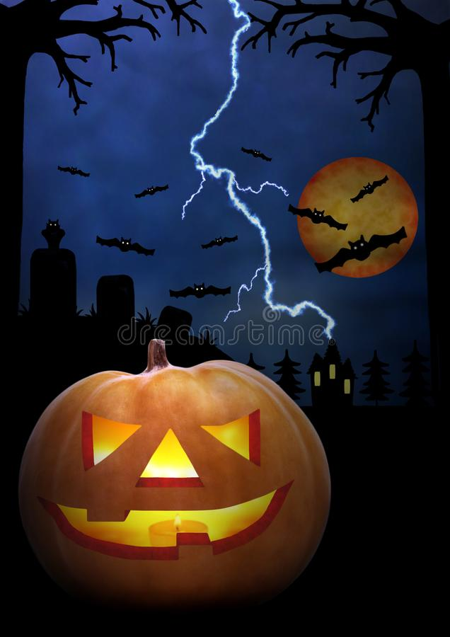 Halloween night. Pumpkin Scary Face in the dark. Dark blue tone. Horror! vector illustration