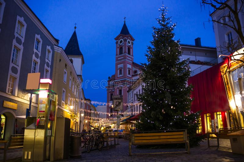 Night in center of Passau city. Bavaria, Germany. stock images