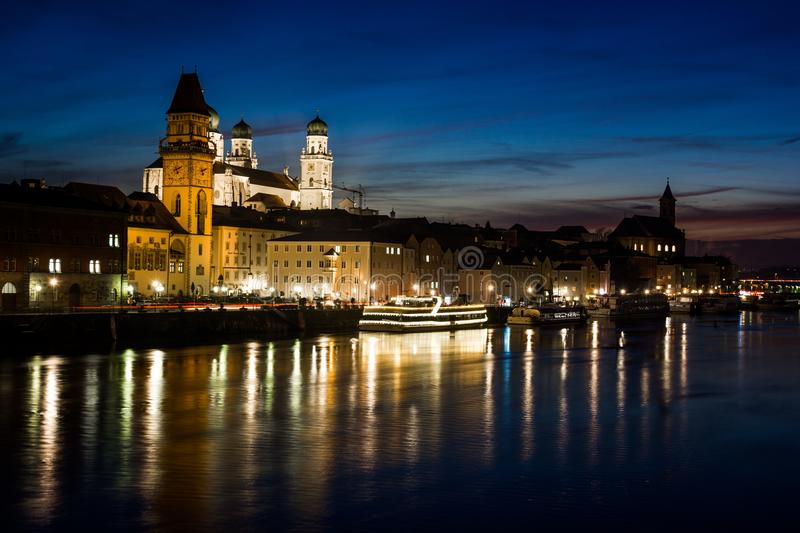 Night in center of Passau city. Bavaria, Germany. royalty free stock images