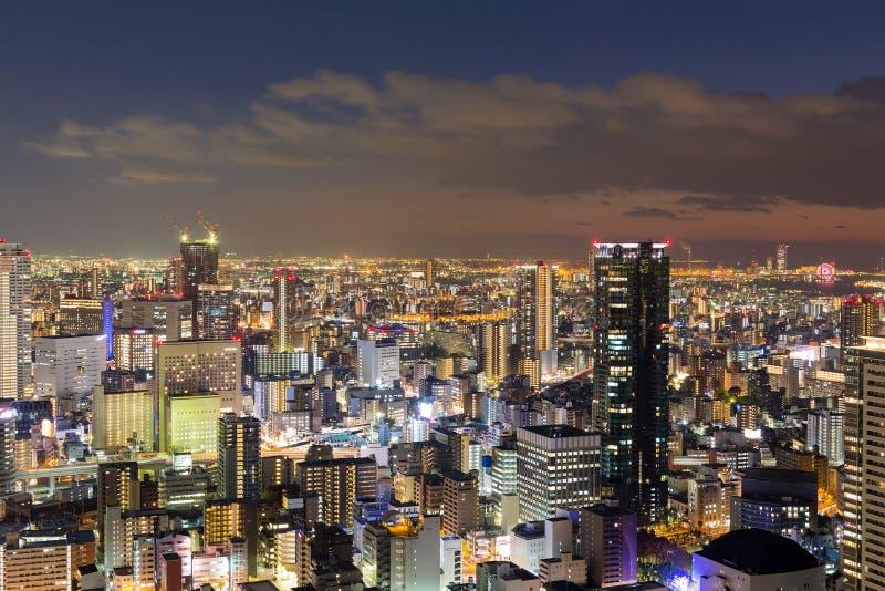Night central business downtown skyline. Osaka Japan royalty free stock photography