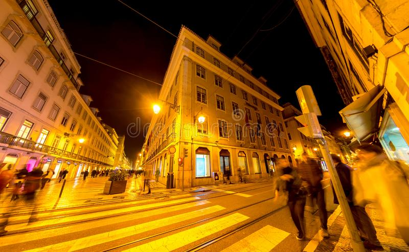 Night of the centre of Lisbon stock images