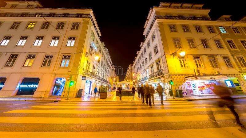 Night of the centre of Lisbon royalty free stock images