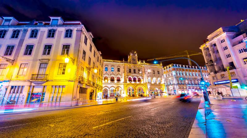 Night of the centre of Lisbon royalty free stock image