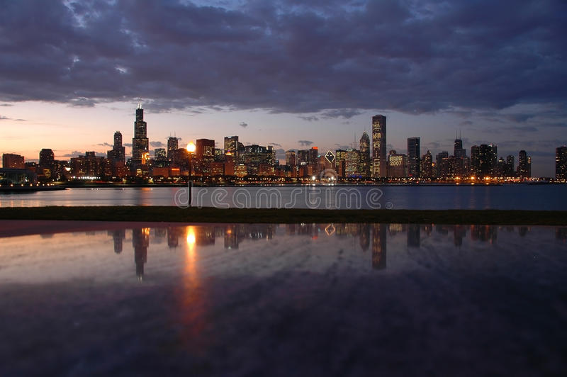 Night Chicago Skyline stock photo