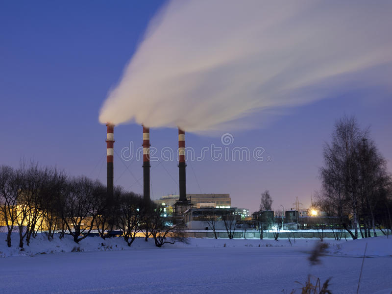 Download Night chimneys stock image. Image of trace, industrial - 28004151