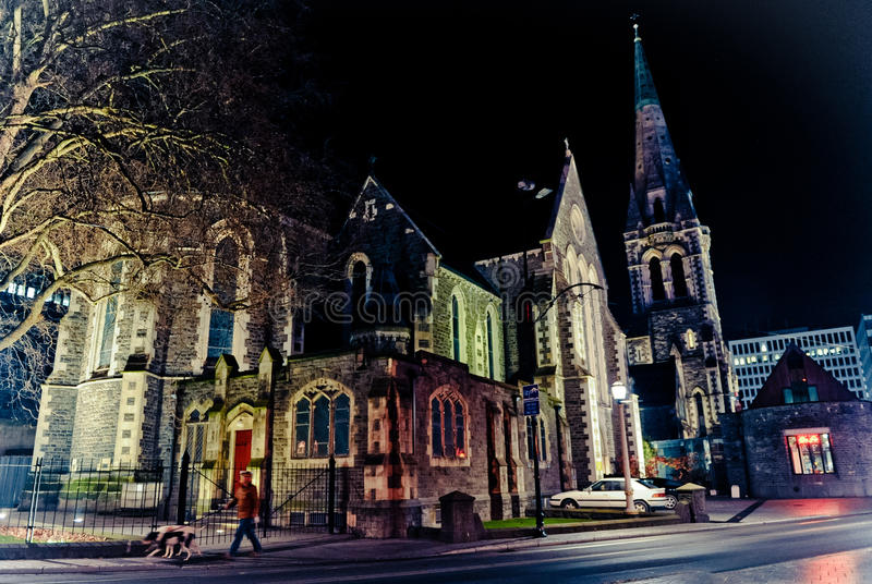 Night of Christchurch. Night shot of Cathedral Church in Christchurch New Zealand royalty free stock image