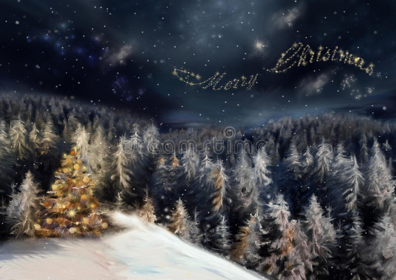 Night christmas forest. The art picture with night forest, christmas tree in yellow light and star text on sky background stock photos