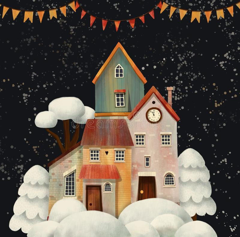 Night Christmas Winter Street Village City with Snowfall, banners, stars and snowman. Hand drawn illustration stock photo