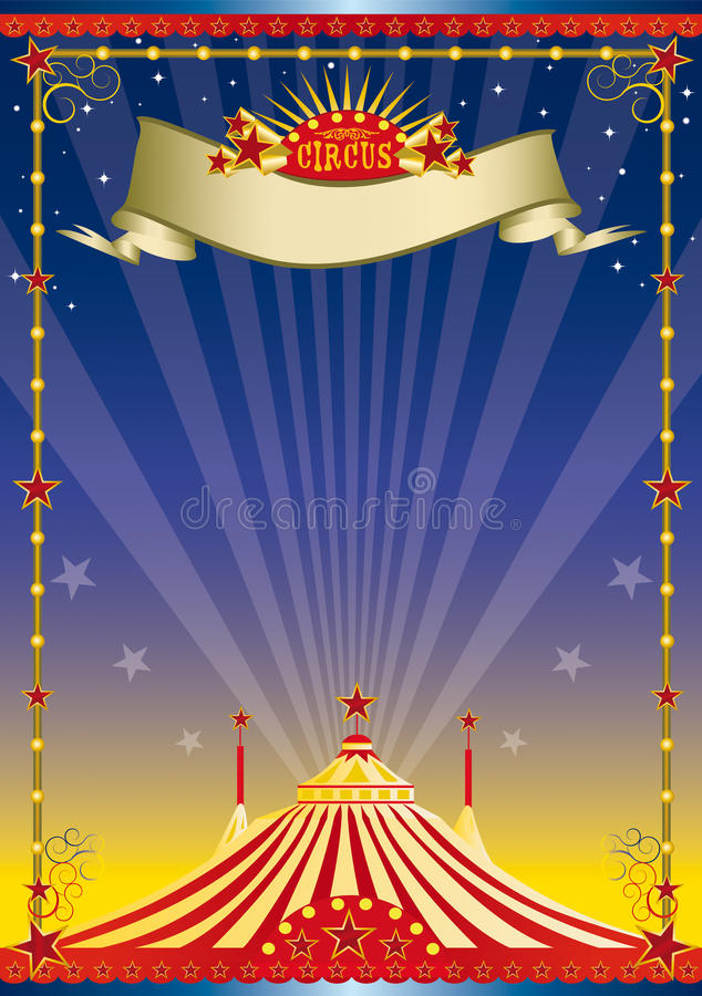 Night circus poster. A circus background with a big top for your show