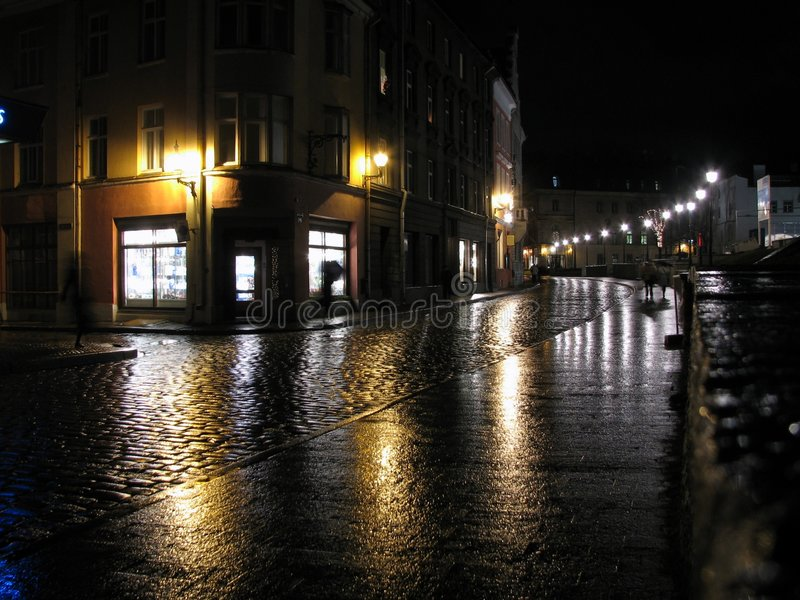 Night in the city. Rainy night in the Old Town of Tallinn