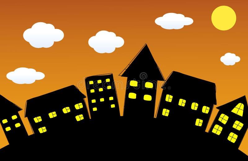Night_City ilustración del vector