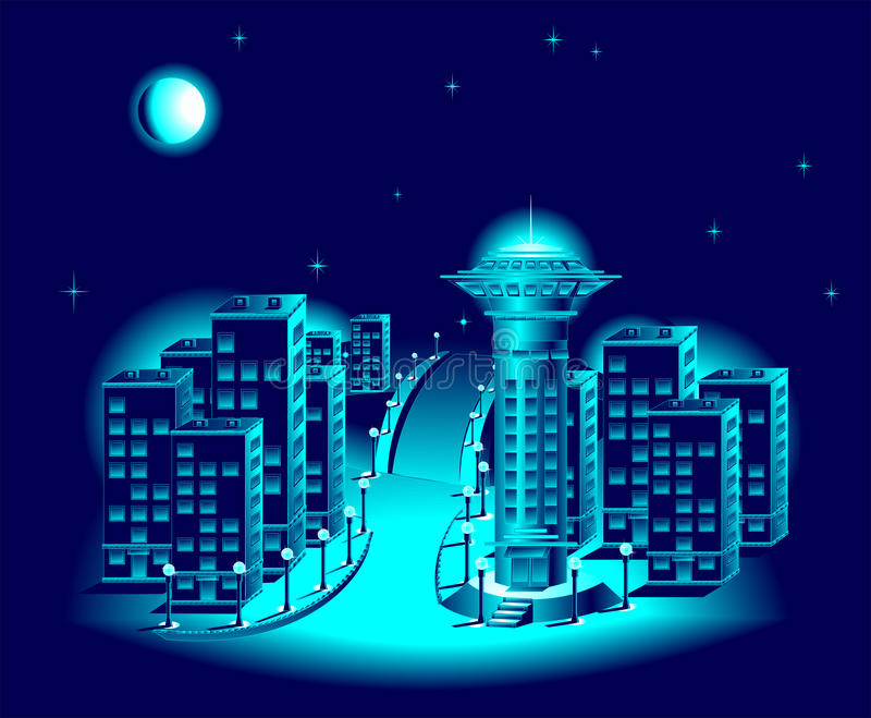 Download Night city stock vector. Image of dark, moon, night, blue - 22972787
