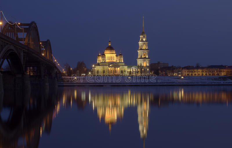 Download Night city stock image. Image of hours, coast, volga - 24369879