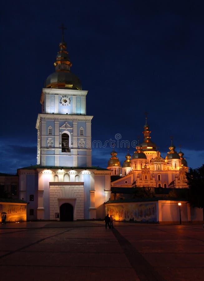 Night city. European night city, Mihailovsky cathedral of Kiev stock photos