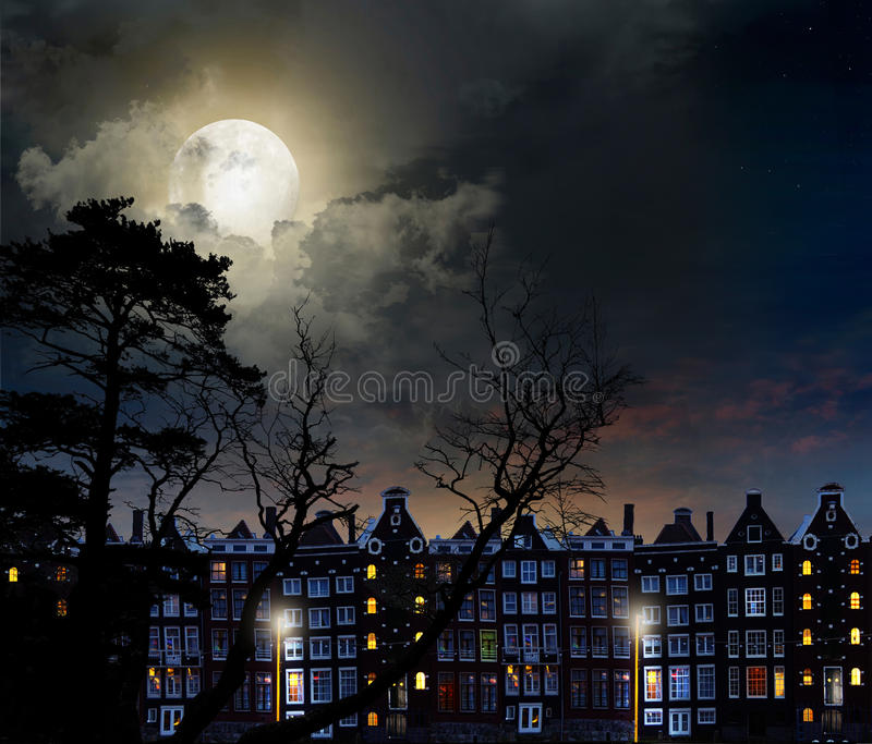 Night city Amsterdam stock image