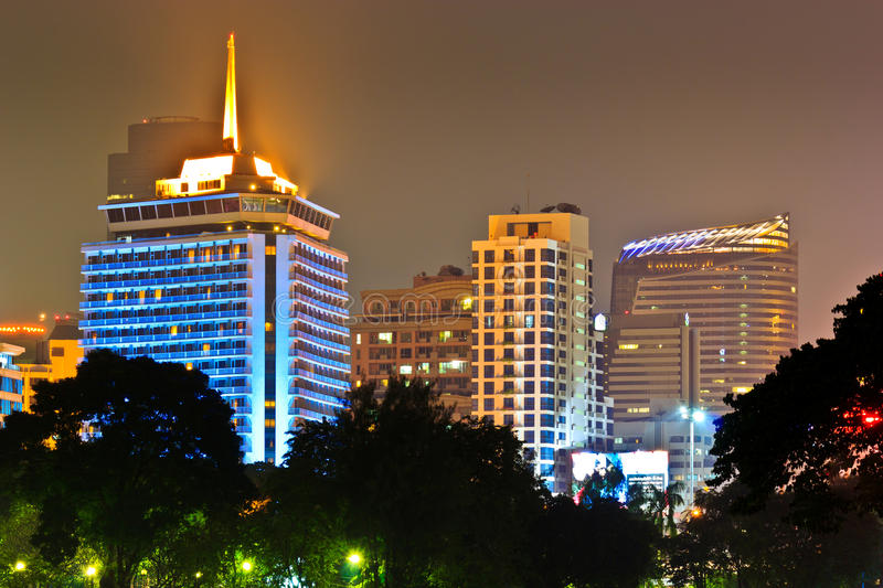 Night city. Architectures or buildings in night asia cityscape royalty free stock images