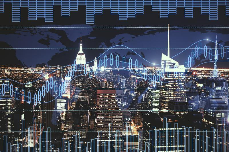 Trade and future concept. Night city background with digital forex chart. Trade and future concept. Double exposure vector illustration