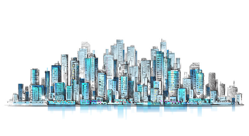 Night City Background. Hand Drawn Vector Stock Vector ...