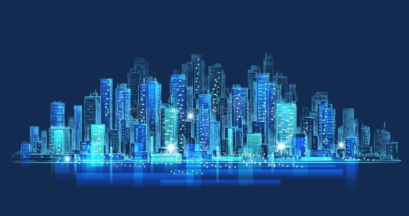 Night city background. Hand drawn vector royalty free illustration
