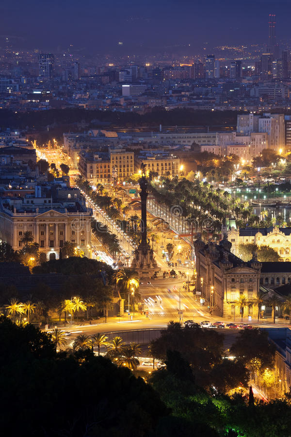 Night in City of Barcelona stock photography