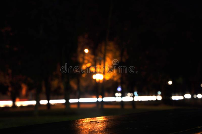 Night city. Building. fountain car lights stock photo