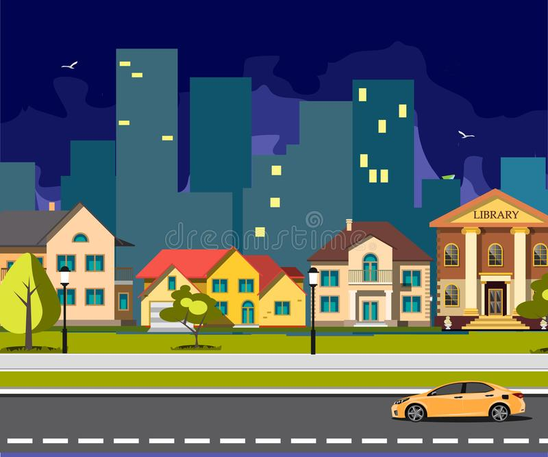 Night city cartoon with road. Vector illustration stock illustration