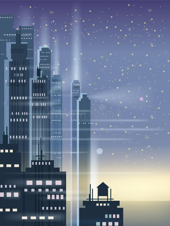 Night city, city scene, skyscrapers, towers, starry sky, lights, horizon, perspective, background, vector, isolated. Night city, city scene, skyscrapers, towers vector illustration