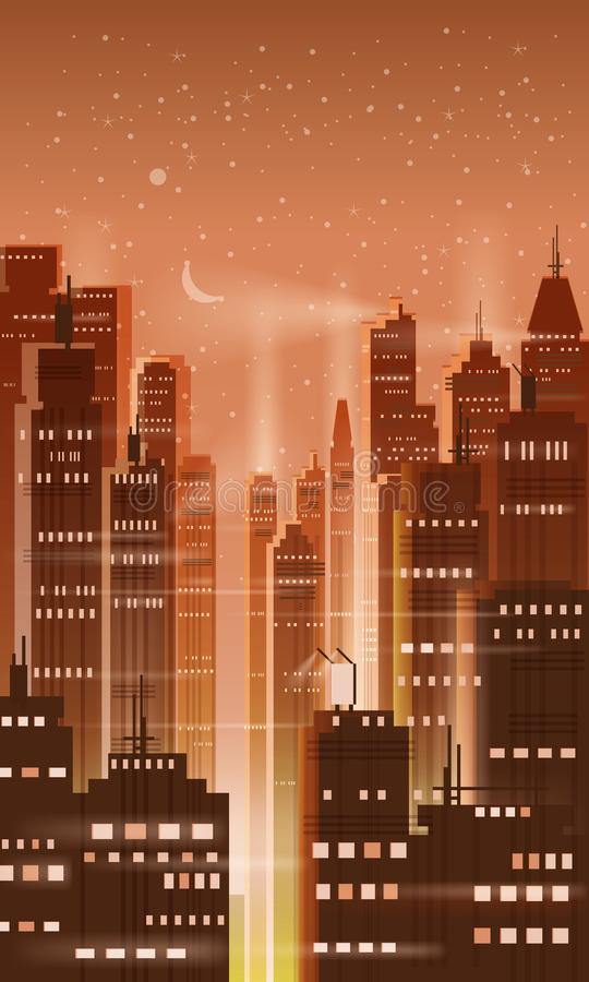 Night city, city scene, skyscrapers, towers, starry sky, lights, horizon, perspective, background, vector, isolated. Night city, city scene, skyscrapers, towers royalty free illustration