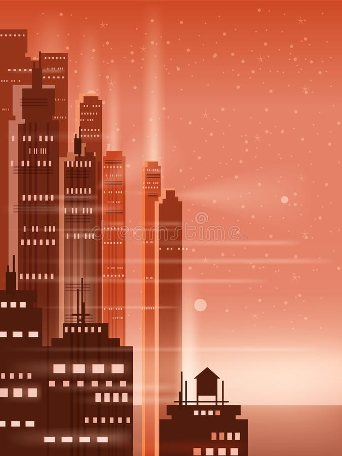 Night city, city scene, skyscrapers, towers, starry sky, lights, horizon, perspective, background, vector, isolated. Night city, city scene, skyscrapers, towers stock illustration