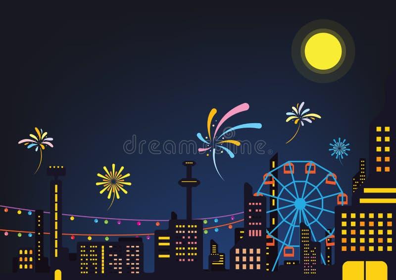 Night city event festival poster design background vector. Amusement park royalty free illustration
