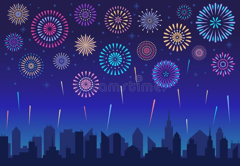 Night city fireworks. Holiday celebration firework, celebrated festive firecracker over town silhouette vector. Night city fireworks. Holiday feast celebration stock illustration