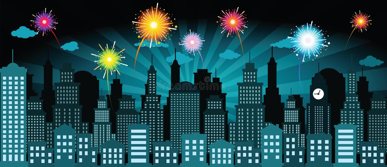 Night city and fireworks. Vector illustration of night city and fireworks stock illustration