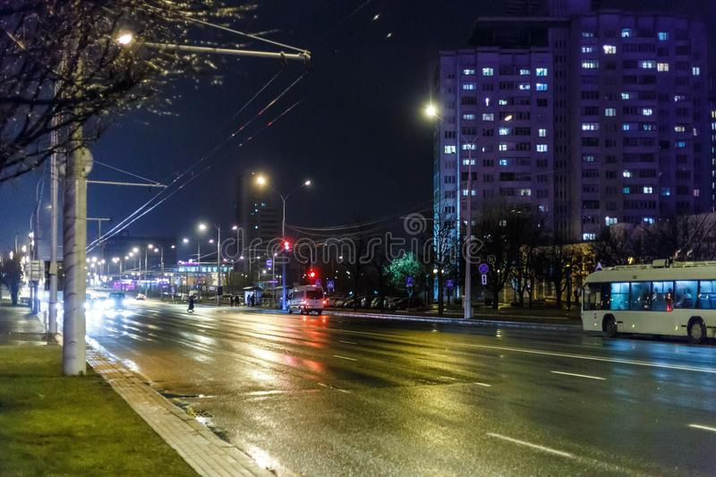 Night city in inclement weather. Sleet royalty free stock images