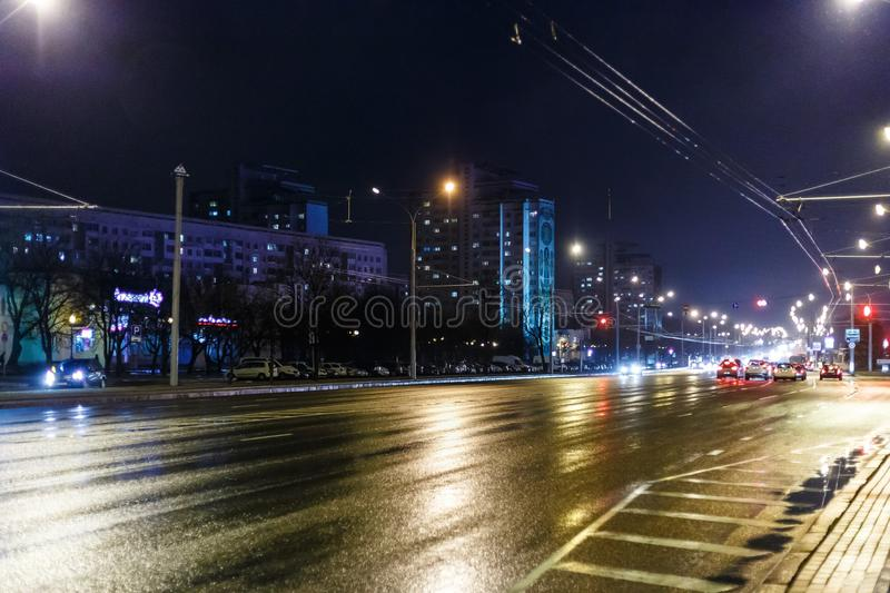 Night city in inclement weather. Sleet stock photo