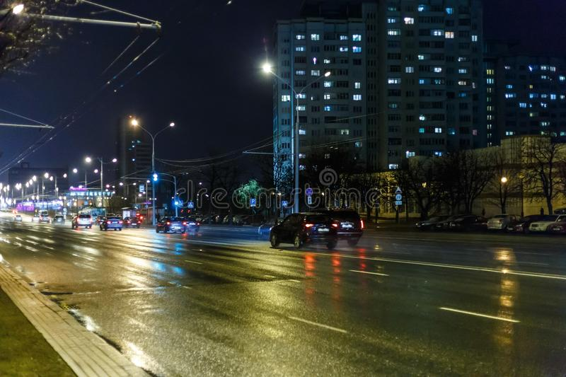 Night city in inclement weather. Sleet stock photography