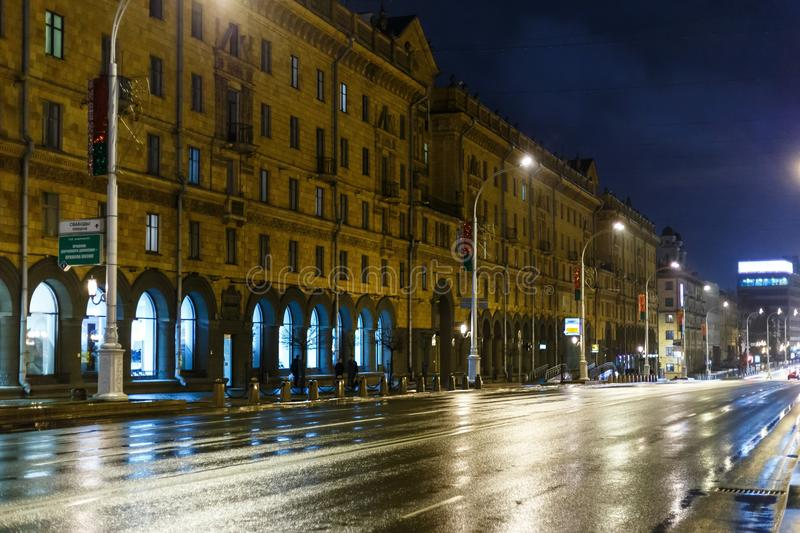 Night city in inclement weather. Sleet royalty free stock image