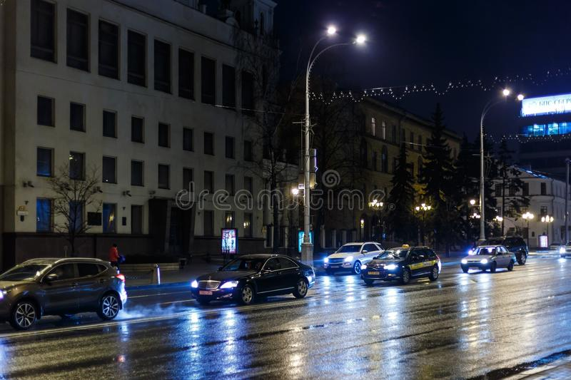 Night city in inclement weather. Sleet stock photos