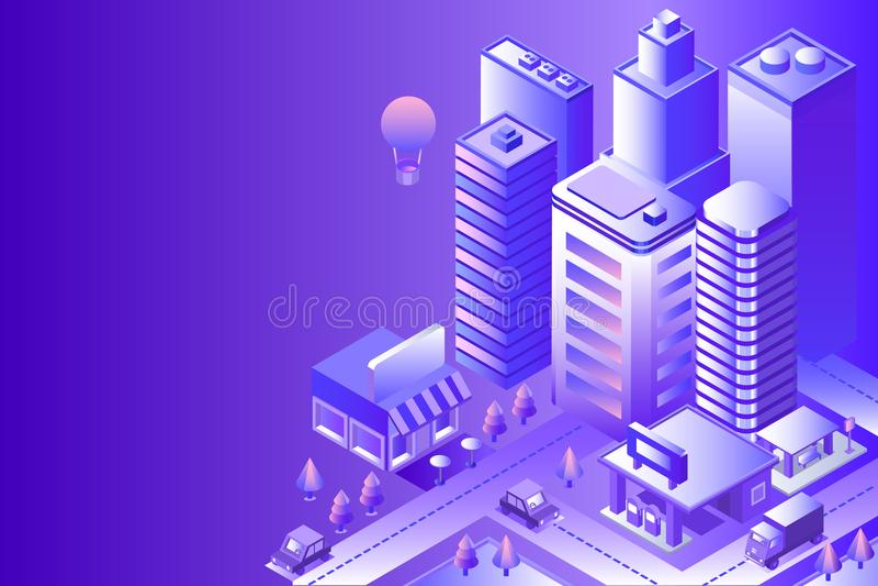 Night city landscape. Cityscape 3d vector isometric. Skyline scene. Smart city skyscraper, building, architecture, car, shop, street, road coffee Technology in vector illustration