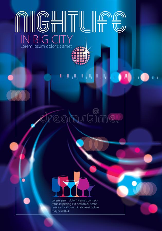 Night city life with street lamps and bokeh blurred lights. Effect vector beautiful background. Blur colorful dark background wit. H cityscape, buildings royalty free illustration