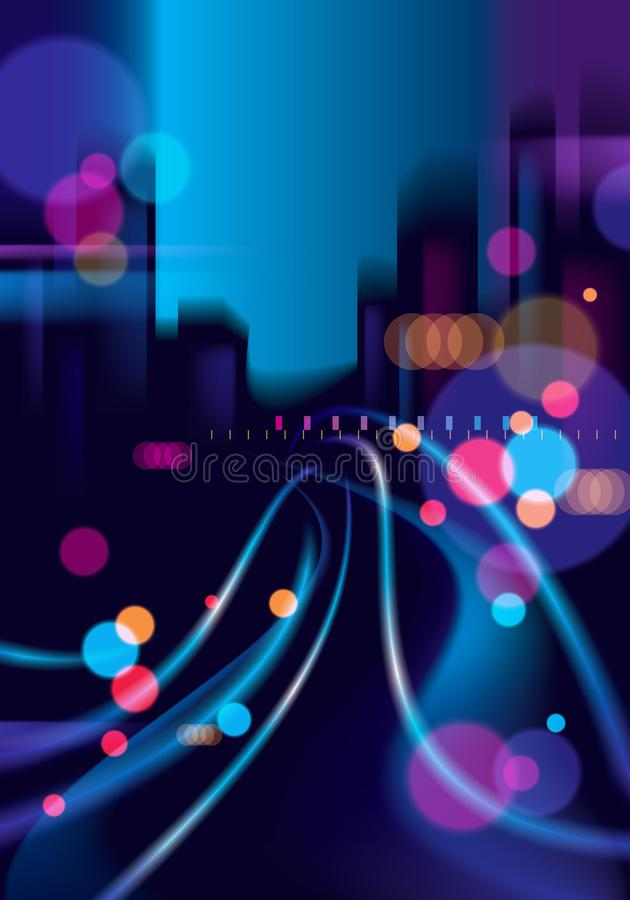 Night city life with street lamps and bokeh blurred lights. Effect vector beautiful background. Blur colorful dark background wit. H cityscape, buildings vector illustration