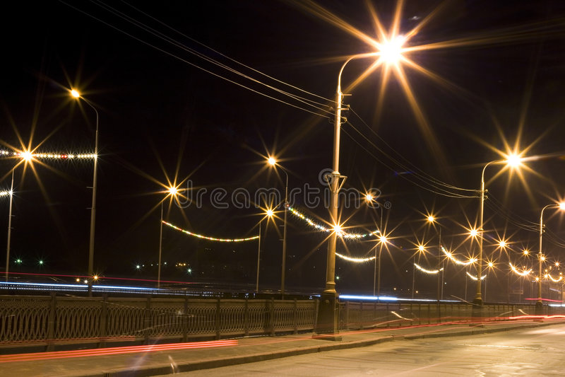 Night city lights stock image